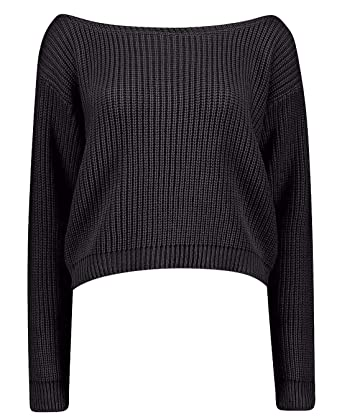 549e93b9eba Ladies Slash Neck Off Shoulder Cropped Knitted Jumper (One Size - (8/14),  Black): Amazon.co.uk: Clothing