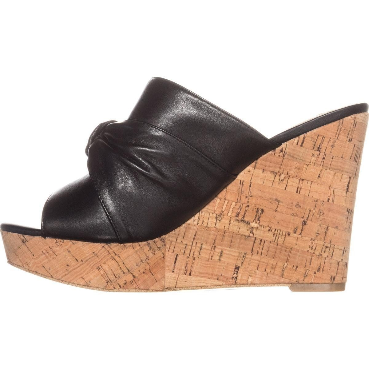 Guess Frauen HOTLOVE Offener Zeh Leger Leder Sandalen mit Keilabsatz schwarz Leder