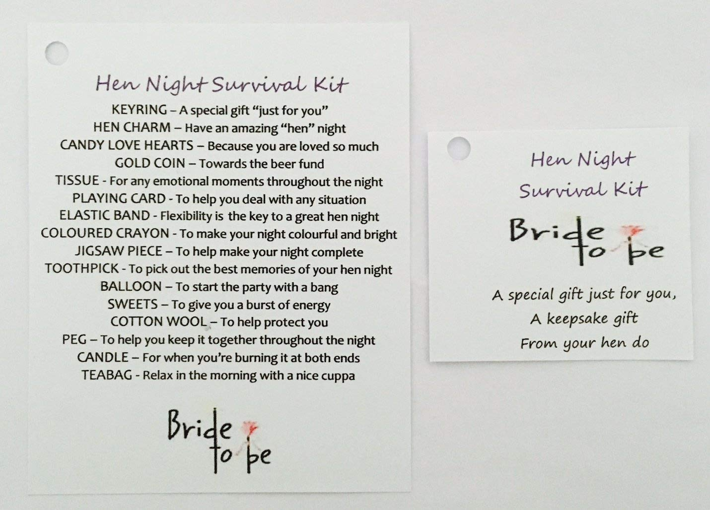 Bride To Be Survival Kit Wedding Favour Unique Gift For The