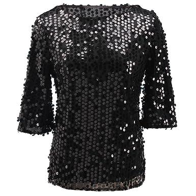 d9e9da117b02f Women s Sparkle Glitter Tank Party Sequin Blouse Night Out Tops ...