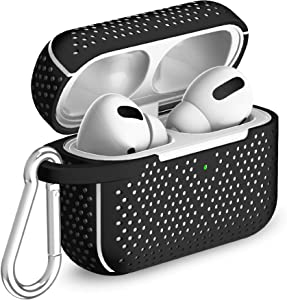 TalkWorks Hard Cover Case for AirPod Pro - Protective Skin for AirPods Keychain Case Clip Compatible with Apple AirPod Pro Carrying Case - Black
