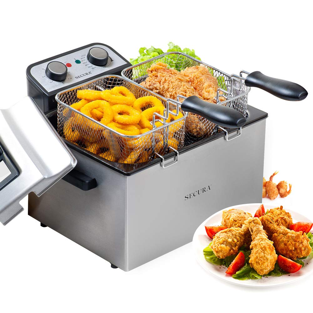 Secura Electric Deep Fryer 1800W Large Stainless Steel with Triple Basket and Timer MSAF40DH, 4.0L 4.2Qt, Professional Grade
