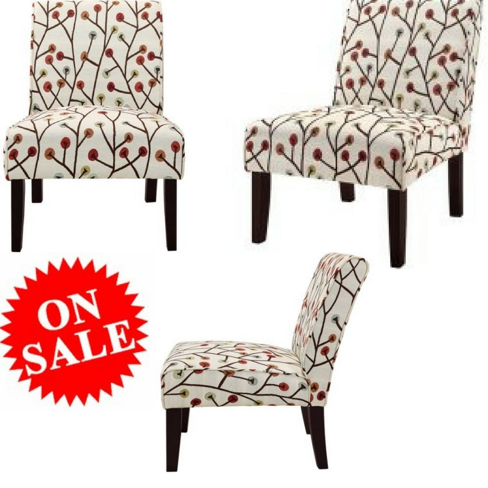 Armless accent chair modern square white with floral pattern chair wood fabric accent chair large tall chair for adults office and living room home