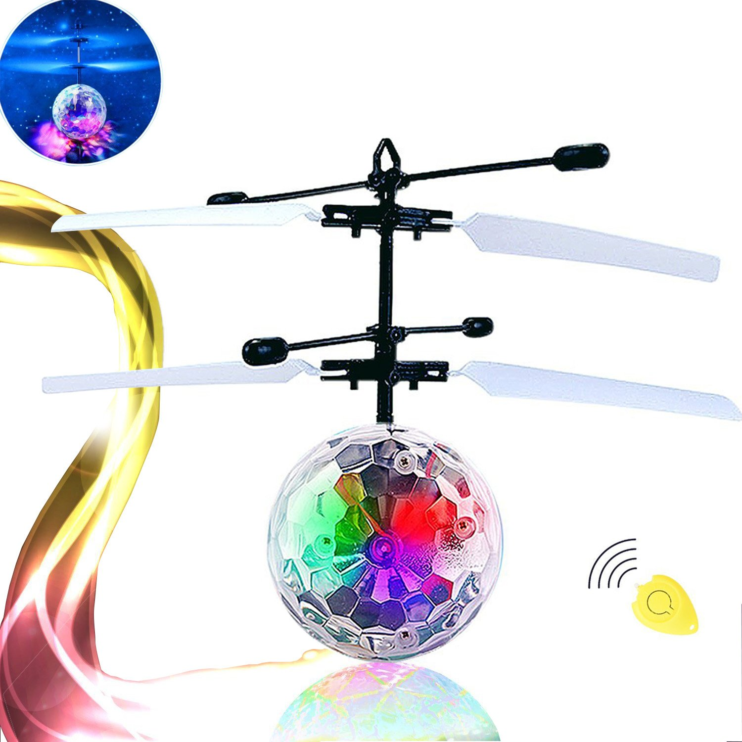PlayEgg Kid RC Toy, RC Flying Ball, Hand Suspension Helicopter Ball toy,Built-in Shinning LED Lighting for Kids, Teenagers