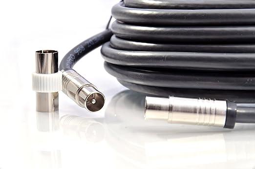 MAST Digital - 15m Extensión Cable coaxial para TV/TDT, Cable Coaxial Negro, 2 x Conectores Macho: Amazon.es: Electrónica