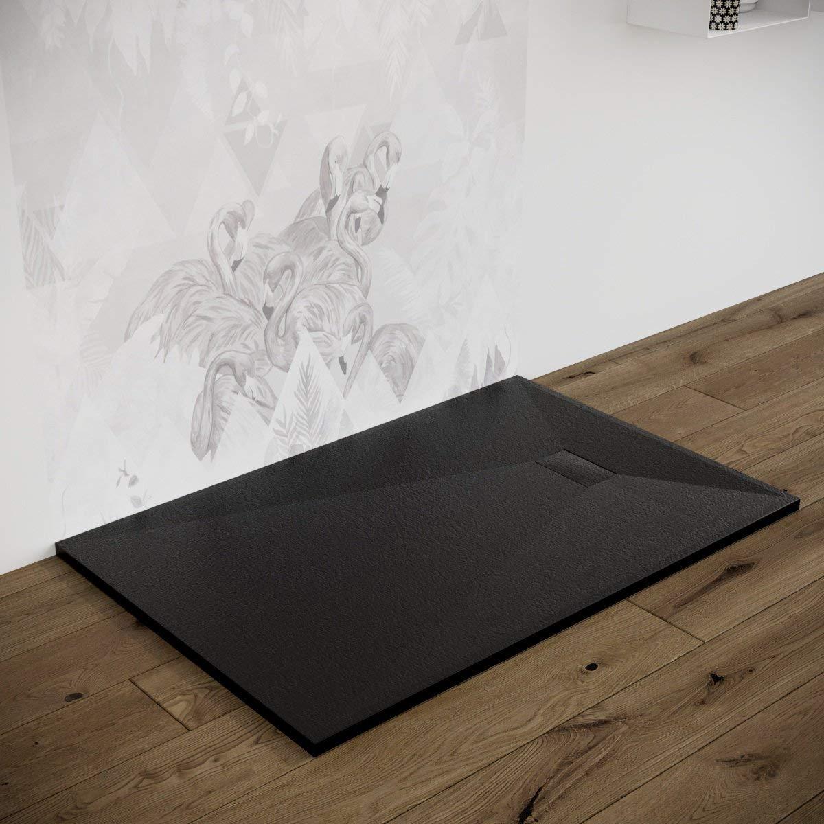 80x100 cm, Beige Piatto doccia effetto pietra ardesia stone smc BEIGE BIANCO NERO 70 80 90 100 120 140 160 180 cm piletta inclusa Euclide no marmoresina
