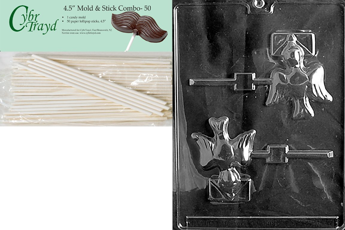 Cybrtrayd 45St50-V046 Love Note Lolly Valentine Chocolate Candy Mold with 50 4.5-Inch Lollipop Sticks