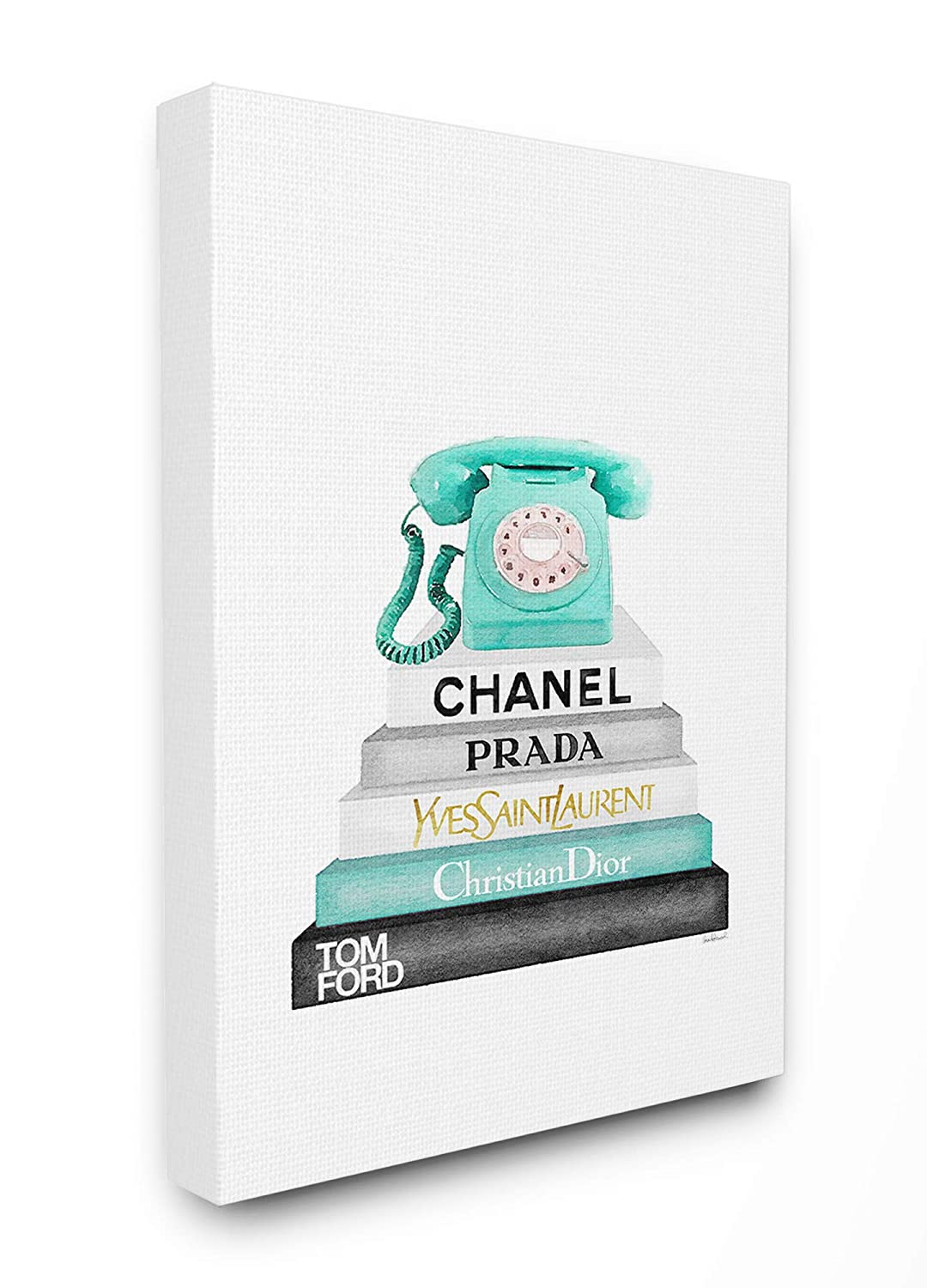 11 x 14 The Stupell Home Decor Grey Black Fashion Bookstack with Teal Phone Framed Giclee Texturized Art Multi-Color
