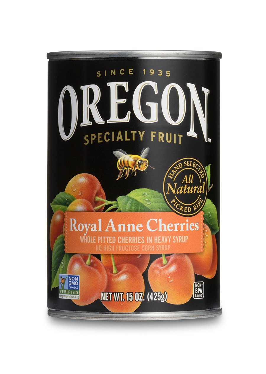 Oregon Fruit Pitted Light Sweet Royal Anne Cherries in Heavy Syrup, 15-Ounce Cans (Pack of 8)