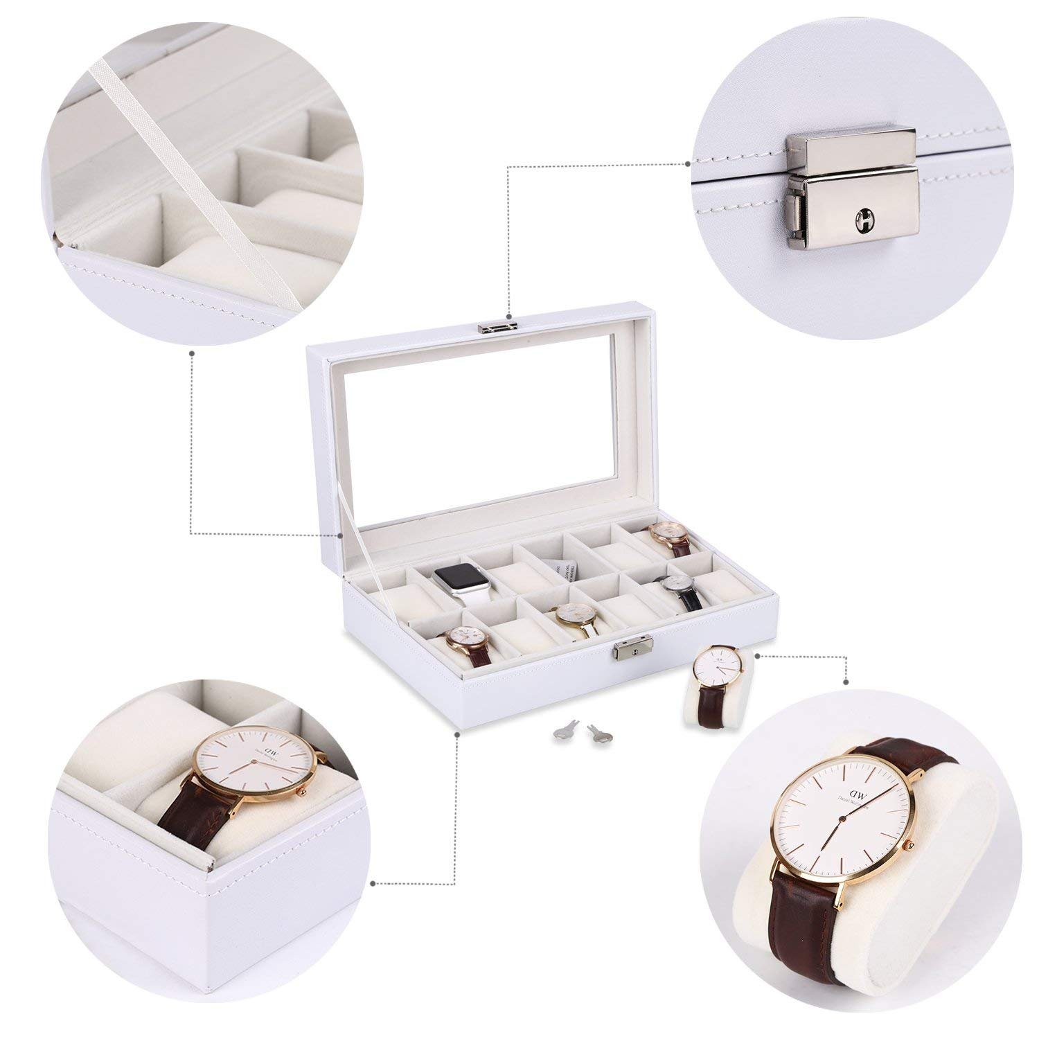 Amazon.com: VIPITH Watch Box 12 Slots Watch Case for Men Women Leather Watch Organizer Holder Display Storage Case with Glass Lid White: Home & Kitchen
