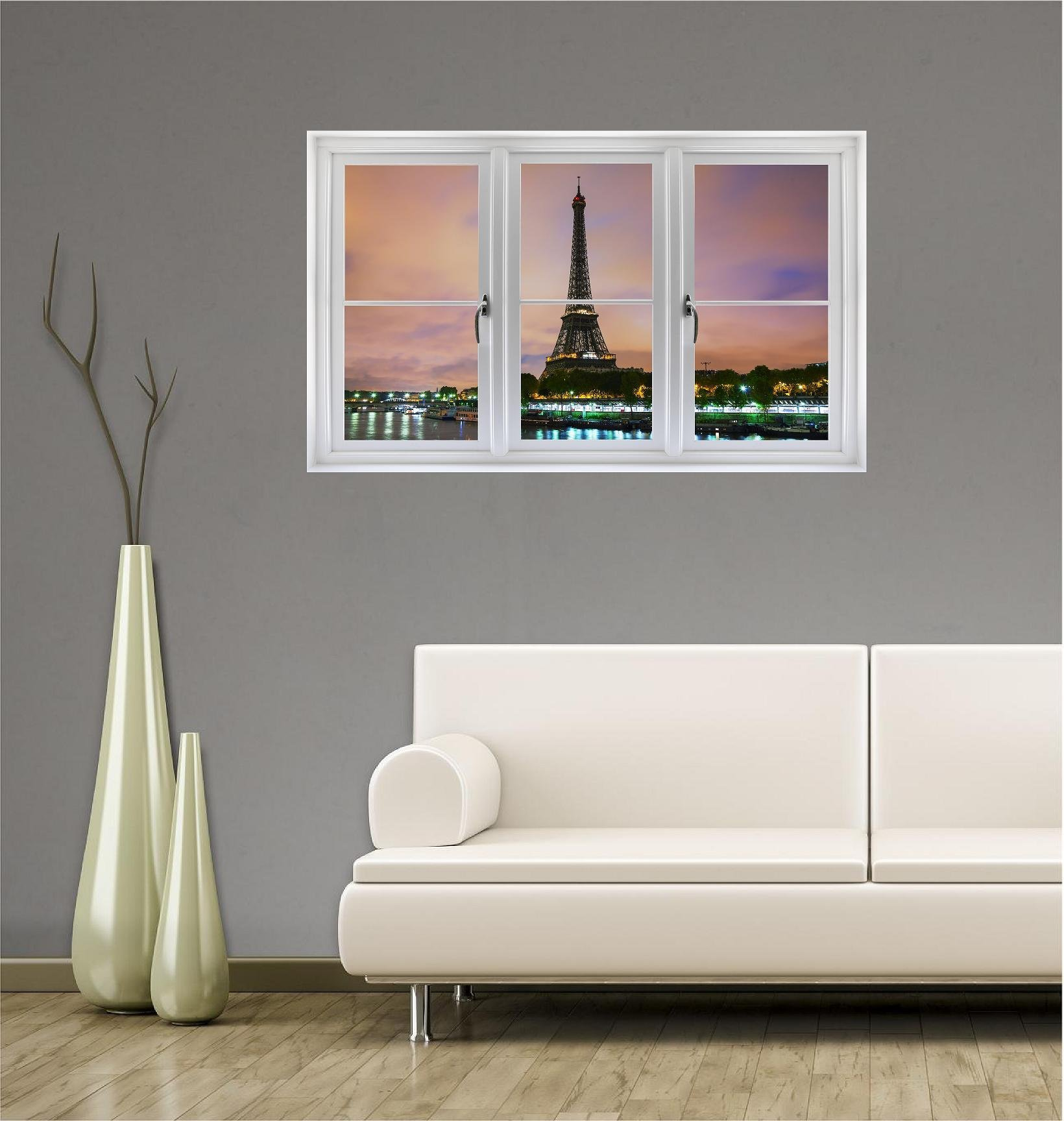 48'' Window Landscape Scene Instant View EIFFEL TOWER at DUSK #1 Paris France Wall Sticker Decal Kids Room Mural Art Décor Graphic LARGE