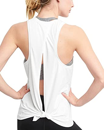 562008c4bfde8f VEAWLL Women s Sexy Yoga Gym Tank Tops Tie Back Workout T Shirt White S