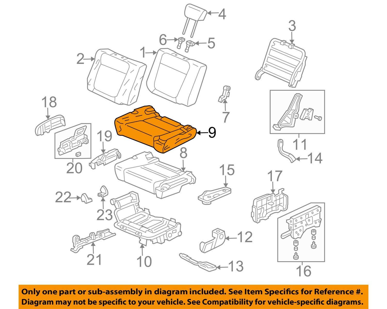 Rear Right Honda Genuine 82131-SCV-A01ZB Seat Cushion Trim Cover