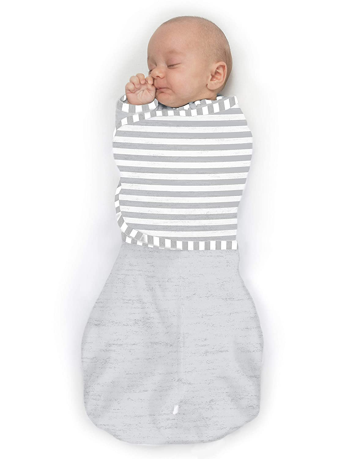SwaddleDesigns Omni Swaddle Sack with Wrap & Arms Up Sleeves & Mitten Cuffs, Heathered Sterling & Stripes, Small, 0-3 Months