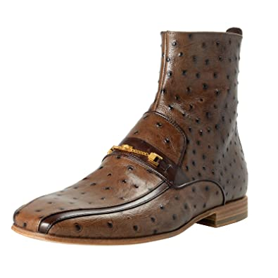 a7e67b021fc Versace Men's Brown Ostrich Skin Leather Ankle Boots Shoes Sz US 9 IT 42
