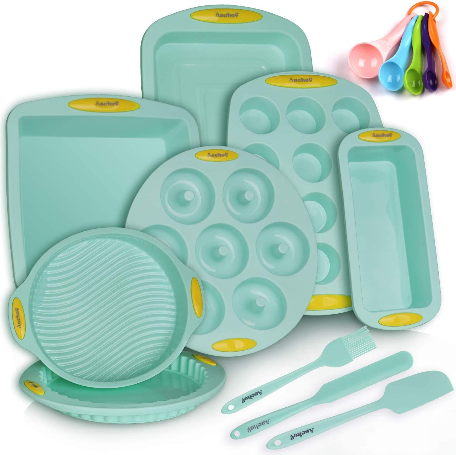 15in1 Silicone Nonstick Baking Pans Mold Tray Supplies Tools Bakeware Set, BPA Free Food Grade for Muffin Donuts Pizza Tiramisu Cake Pan Cookie Sheets Cookware Set with Yellow Hanlde Grip for Oven: Kitchen & Dining