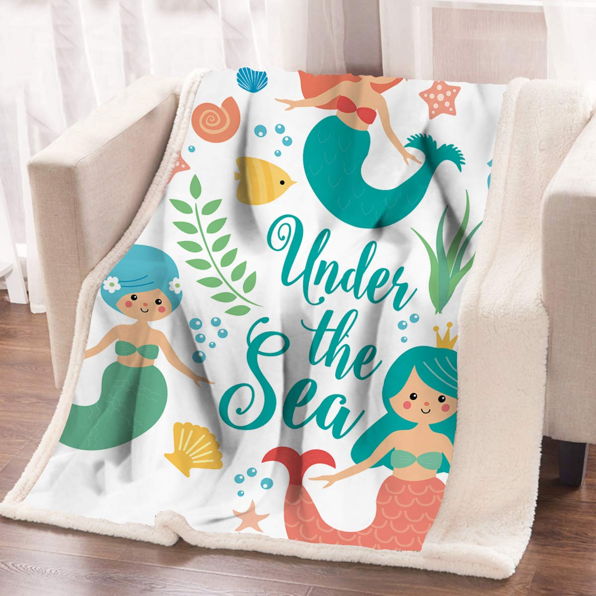 ARIGHTEX Mermaid Print Blanket Girls Fleece Throw Blanket Under The Sea Soft Blanket Teal Kids Sherpa Blanket (50 x 60 Inches) by ARIGHTEX