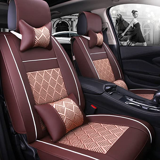 Fly5D Universal Auto Car Seat Cover Cushion Premium PU Leather for Most 5 Seats Car SUV/&Van,13Pcs Front and Rear Waterproof Seat,Airbag Compatible Black /&red