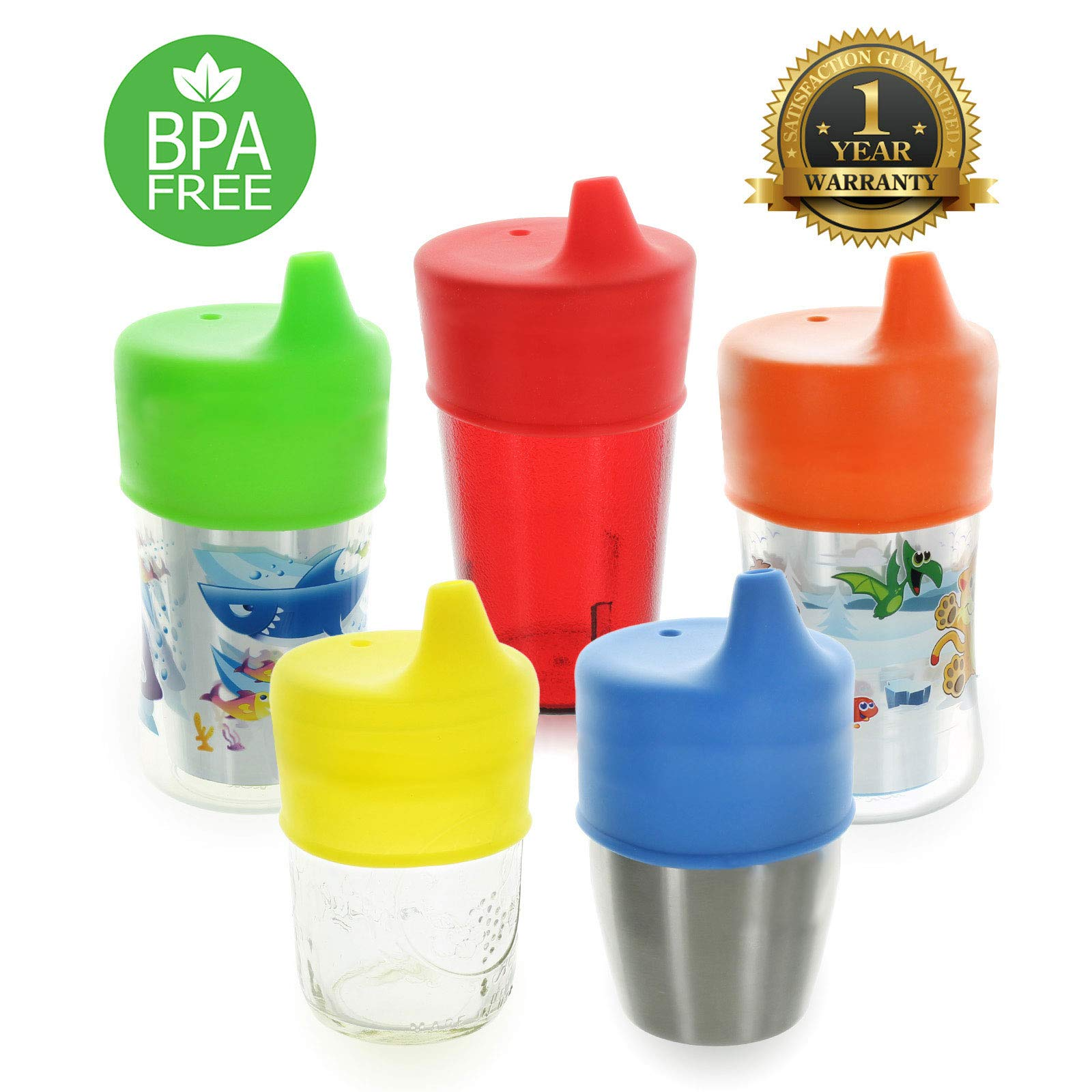 Healthy Sprouts Silicone Sippy Lids (5 Pack) - Lab Tested, Spill Proof, BPA Free, Universal Soft Spout Stretch Tops - Make Any Kid Size Cup a Sippy Cup for Toddler, Baby, Infant (Red, Yellow, Blue) by Healthy Sprouts