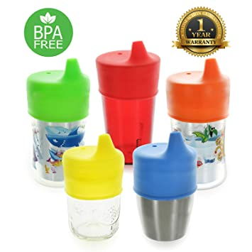 4b2659778 Healthy Sprouts Silicone Sippy Lids (5 Pack) - Lab Tested, Spill Proof, BPA  Free, Universal Soft Spout...