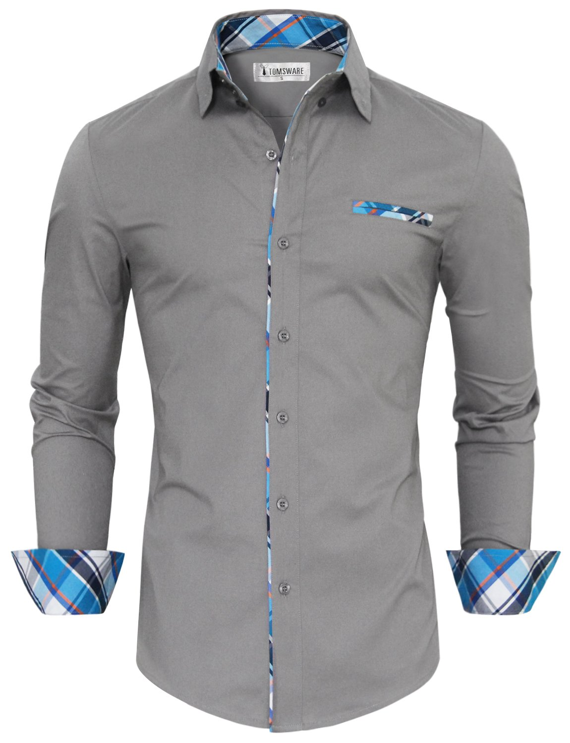 Tom's Ware Mens Premium Casual Inner Contrast Dress Shirt TWNMS310S-1-GRAY-L by Tom's Ware
