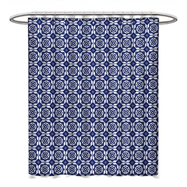 Anhuthree Dutch Shower Curtain Collection by Delft Style Geometric Pattern with Rhombuses and Hexagons Holland Design Satin Fabric Sets Bathroom W48 x L84 Navy Blue and White