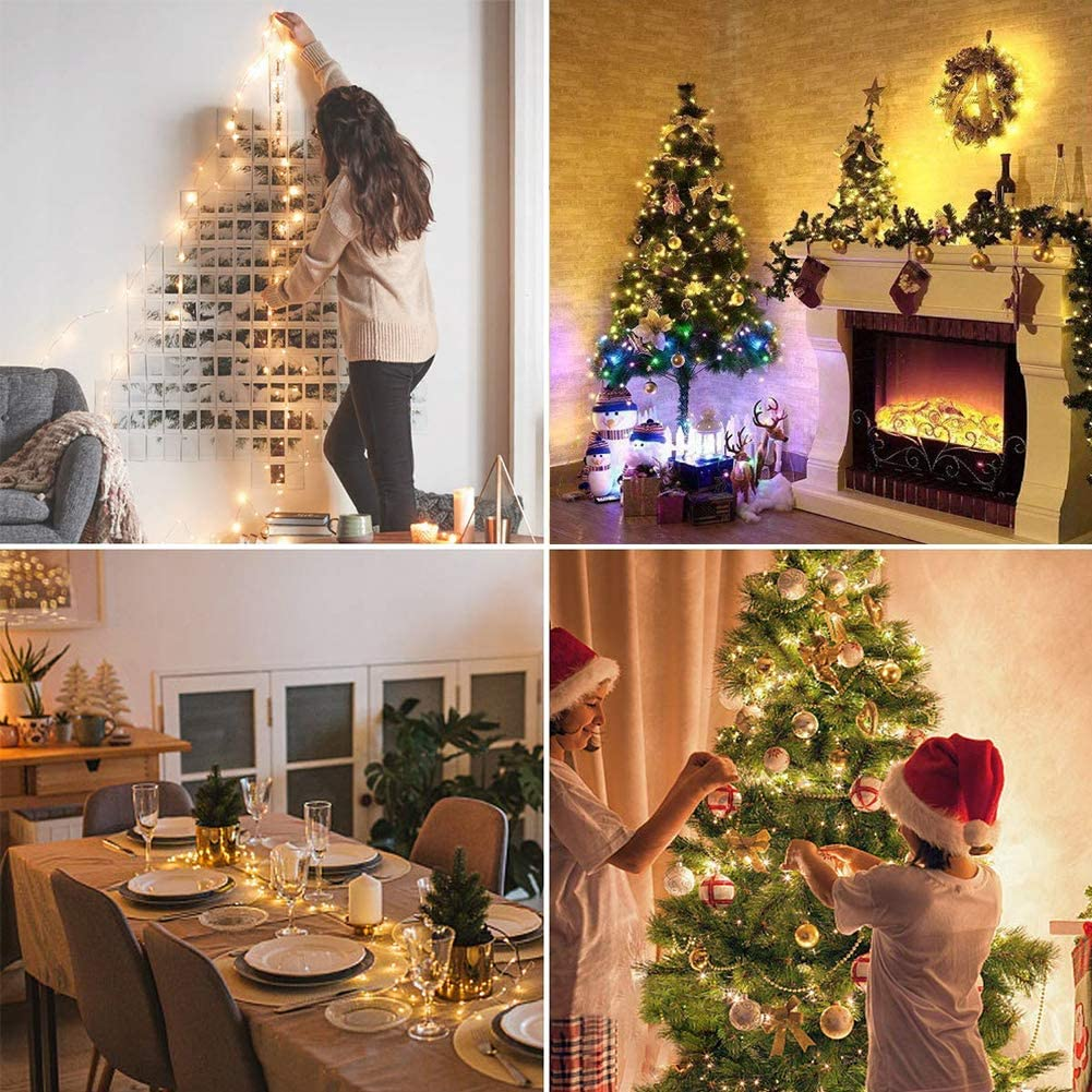 BEEWIN 2 Pack 16.5ft 50L Copper String Lights,8 Modes Twinkle Fairy Lights with 3AA Battery Remote Control Decor for Holiday Decor Wreath Christmas Tree New Year Garden Wedding Party Cool White