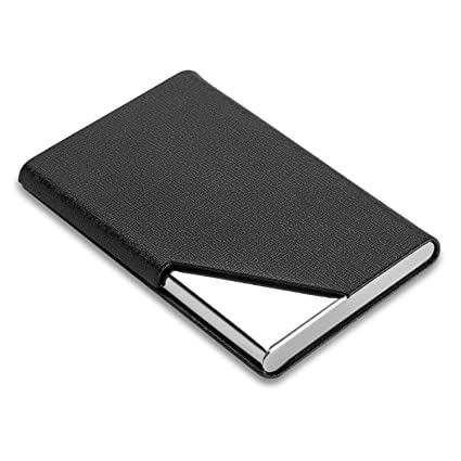 new concept 0615d bca62 DMFLY Professional Business Card Holder Business Card Case Luxury PU  Leather & Stainless Steel Card Holder Keep Business Cards Safe and Clean