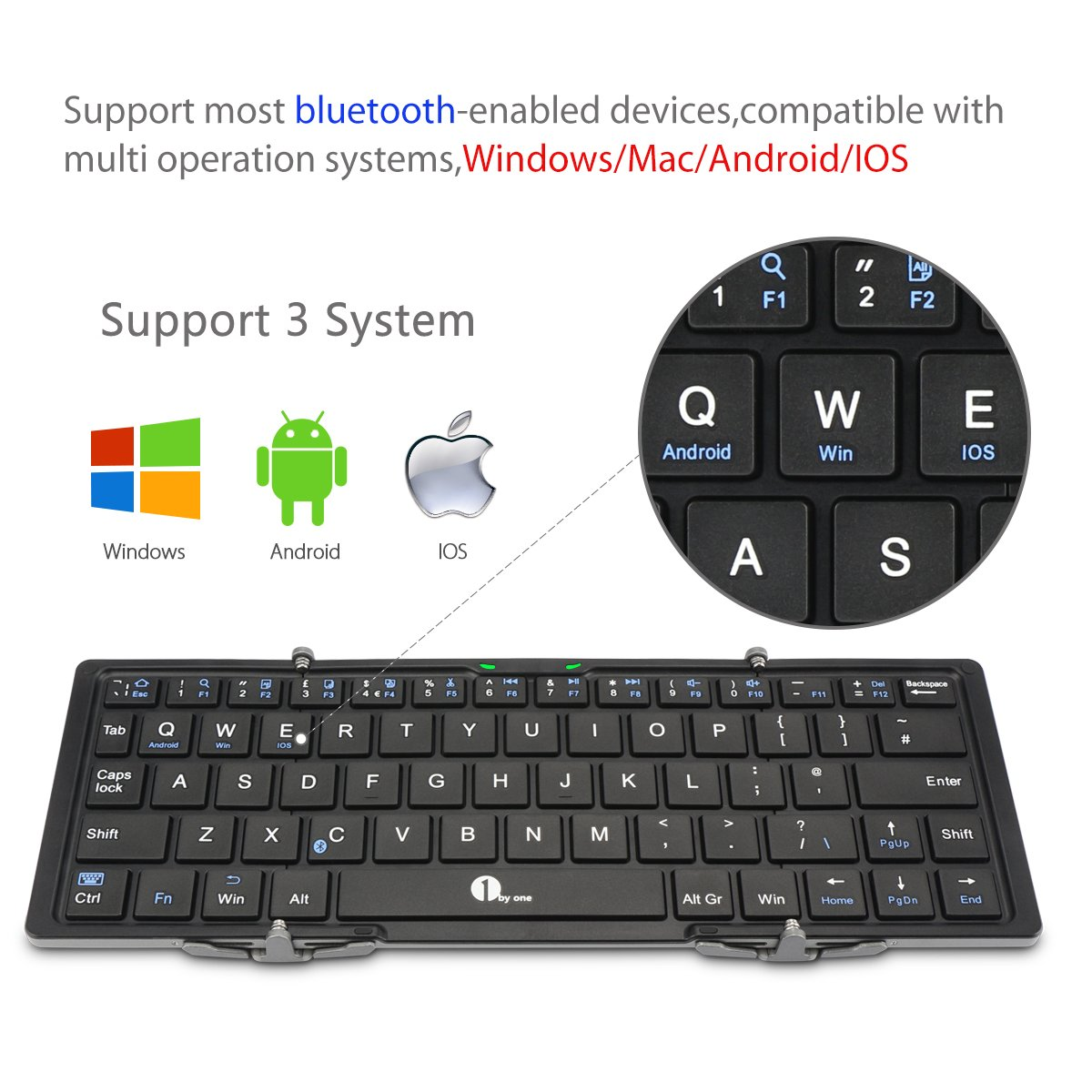 1byone Foldable Bluetooth Keyboard For Ios Android Windows Pc