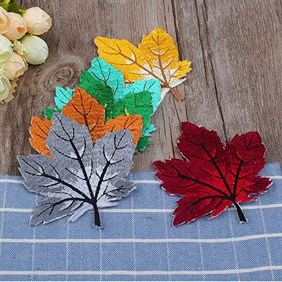 Ancefine 6 Pieces Colorful Maple Leaves Patch Iron on Embroidered Applique for Jeans,Jackets,Clothes,Backpack