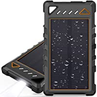 Portable Solar Charger, BEARTWO 10000mAh Ultra-Compact External Batteries with Dual USB Ports, Solar Power Bank with…