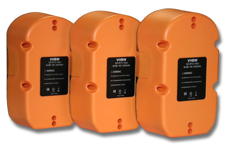 vhbw 3x Ni-MH Akku 3000mAh (18V) für Werkzeuge P740, P741, P780, P835, Ryobi BID-1821M wie Ryobi ABP1801, ABP1803, BCP1817/2SM.