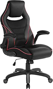 OSP Furniture Xeno Ergonomic Adjustable Gaming Chair, Black with Red Accents