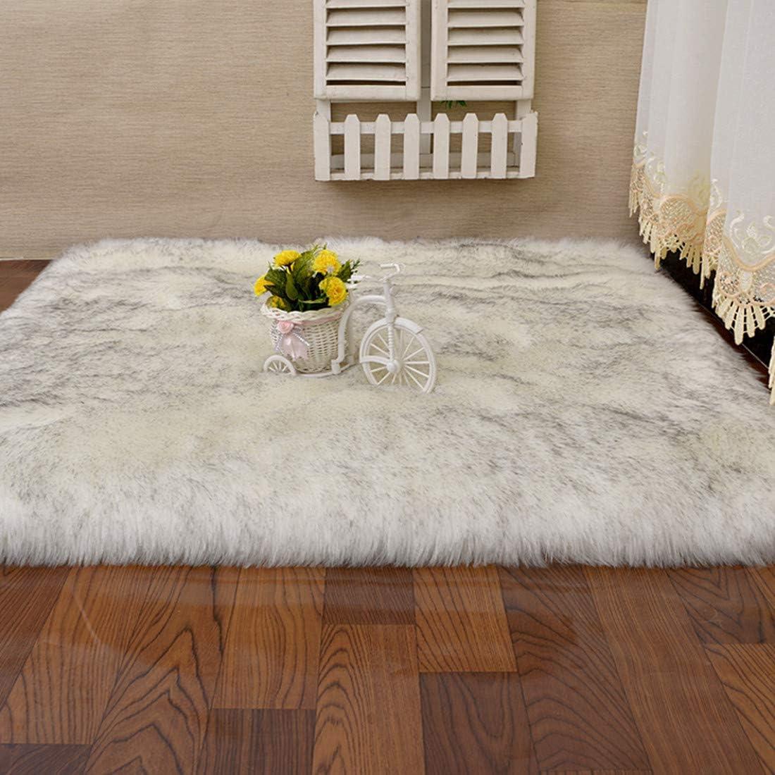 Fashion Suit Rectangle Faux Fur Sheepskin Area Rug Baby Bedroom Fluff Floor Sofa Rugs Home Decorative Shaggy Carpet White Black,8×10 Feet