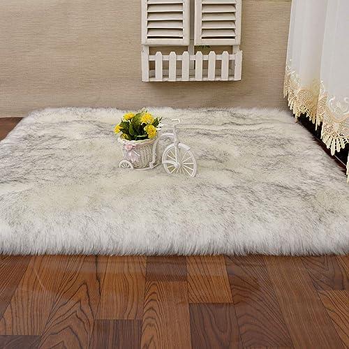 Fashion Suit Rectangle Faux Fur Sheepskin Area Rug Baby Bedroom Fluff Floor Sofa Rugs Home Decorative Shaggy Carpet White Black,9×12 Feet
