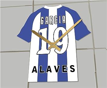 Reloj de camisa de fútbol primera la liga, Fútbol español, personalizable, Deportivo Alavés Football Shirt clock: Amazon.es: Deportes y aire libre