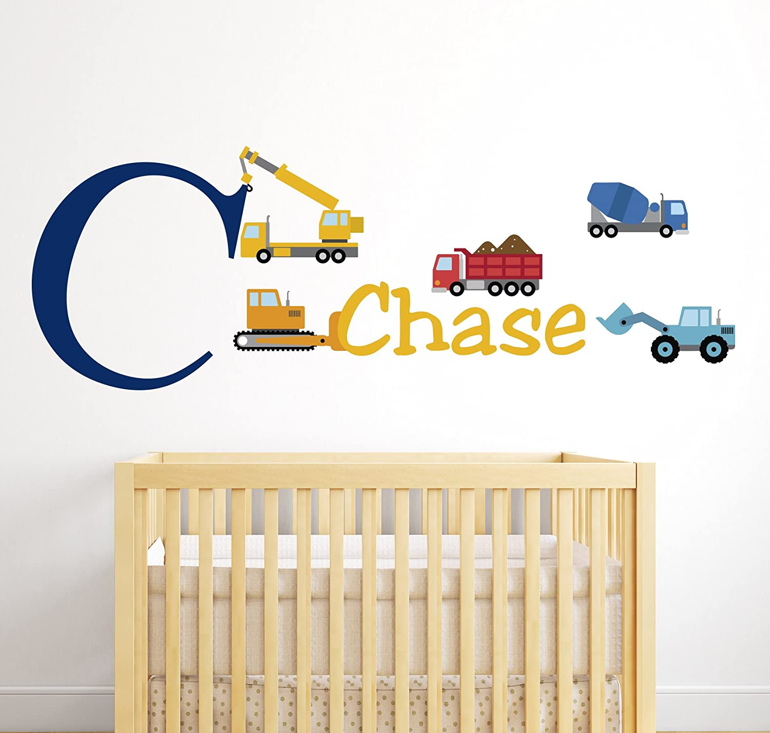 Amazon.com: Personalized Trucks Name Wall Decal - Baby Boy Room ...