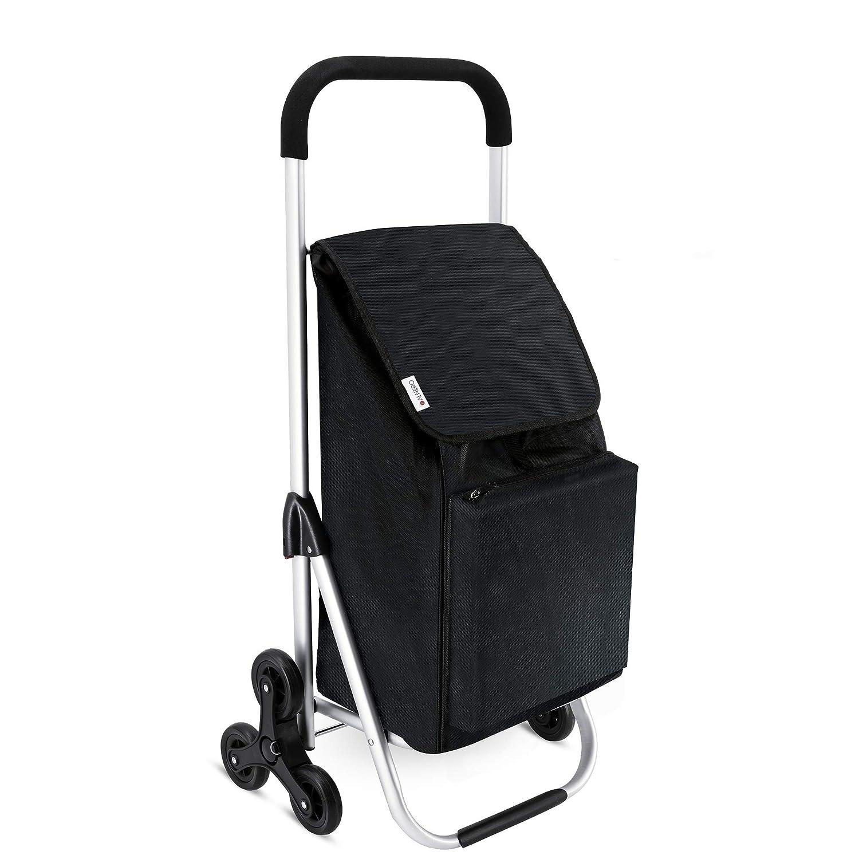 Trolley klappbar LONARI Einkaufstrolley mit Treppensteiger und 47 Liter Einkaufstasche mit integriertem K/ühlfach in schwarz