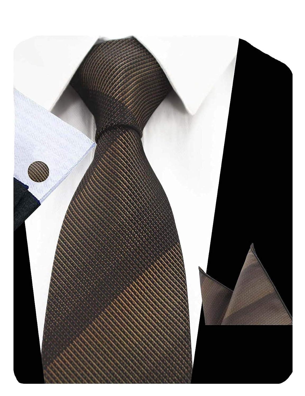 GUSLESON Fashion Solid Men Tie Set Striped Necktie with Handkerchief and Cufflinks