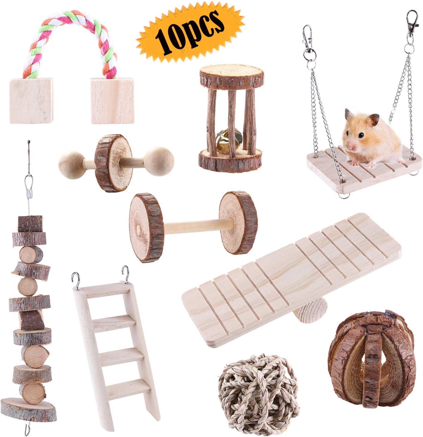 hámster masticable juguetes, 10 piezas de natural pino cobayas juguetes chinchillas juguetes mancuernas ejercicio pequeño mascotas cuidado dientes molar juguete para pájaros conejo Gerbils
