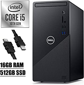 2020 Flagship Dell Inspiron 3000 3880 Desktop Computer 10th Gen Intel Hexa-Core i5-10400 (Beats i7-7700) up to 4.30 GHz 16GB RAM 512GB SSD with Mouse and Keyboard WiFi Win 10 + iCarp HDMI