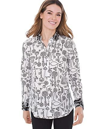 00185d4dac7247 Chico's Women's Printed No-Iron Cotton Button Up Shirt at Amazon Women's  Clothing store: