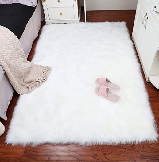 AUTENPOO Faux Fur Sheepskin Area Rug,Solid Shaggy Area Rug