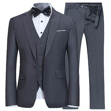 f06dfb1002f Men s Slim Fit 3 Piece Suit One Button Blazer Tux Vest   Trousers Dark Grey