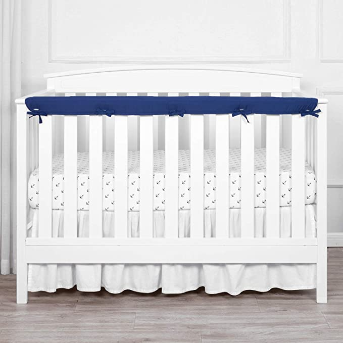 Tillyou 1 Pack Padded Baby Crib Rail Cover Protector Safe Teething Guard Wrap For Long Front Crib Rails Measuring Up To 8 Around 100 Silky Soft Microfiber Polyester Reversible Navy Pale Gray Baby Amazon Com
