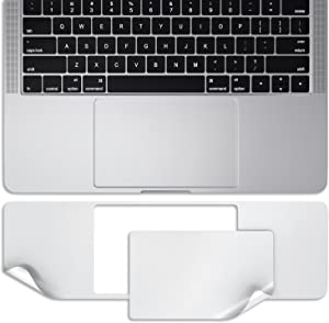 Kuzy - MacBook Pro 13 inch Skin for Palmrest & Trackpad Models A2159, A1989, A1706 & A1708 Release 2019, 2018, 2017, 2016 with/Without Touch Bar & Touch ID Protector Sticker - Silver