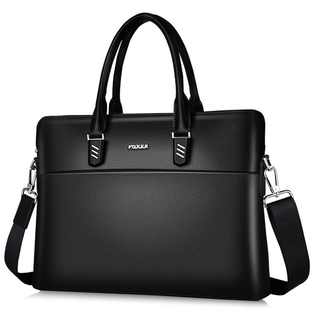 FOXER Genuine Leather Briefcase Shoulder Cross-body Laptop Business Bag for Men & Women (black)