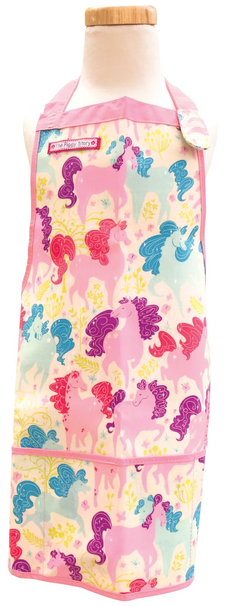 The Piggy Story 'Dancing Ponies' Child's Fun Time Apron for Arts, Crafts and Cooking