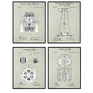 Nikola Tesla Patent Art Prints - Vintage Wall Art Poster Set - Chic Rustic Home Decor for Man Cave, Office, Living Room, Family Room, Den - Gift for Inventors, Electronics Fans, 8x10 Photos Unframed