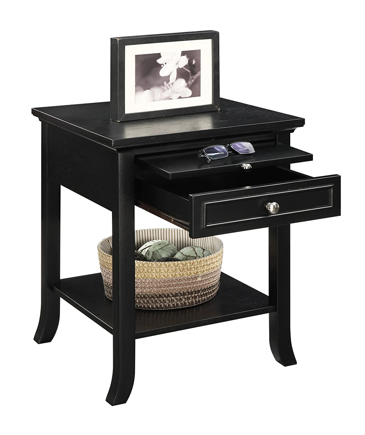 Amazon convenience concepts american heritage logan end table amazon convenience concepts american heritage logan end table with drawer and slide black kitchen dining geotapseo Gallery